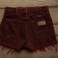 Dark Red Wrangler High Waisted Shorts