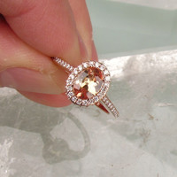 Peach Champagne Sapphire 8 x 6 Oval in 14k Rose Gold Diamond Halo Engagement Ring Morganite Alternative