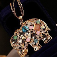 color diamonds elephant necklace