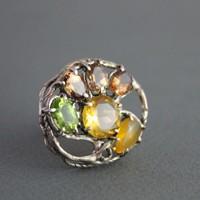 Ring Sterling Silver ~ Mix Gemstones