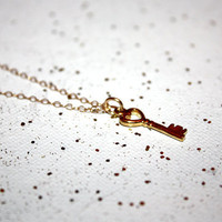 clavis - little gold key necklace by lilla stjarna - 14k gold key necklace - Gold Filled Gift - minimalist, dainty, delicate necklace