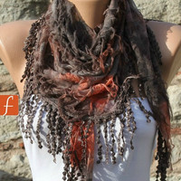 Brown Orange Scarf -  Cowl with Lace Edge by Fatwoman