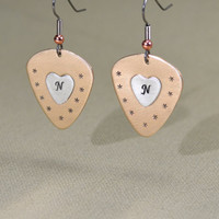 Bronze guitar pick earrings with sterling silver personalized hearts