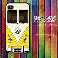 Yellow VW minibus : Handmade case For Iphone 4/4s ,5 / Samsung S2,3,4