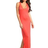 Coral Sweetheart Maxi Dress with Side Slit Detail