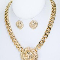 Gold Lion&#x27;s Head Necklace with Matching Earrings