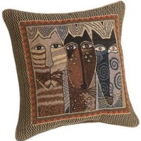 Amazon.com: Laurel Burch 18-inch Native Felines Square Pillow: Home & Kitchen