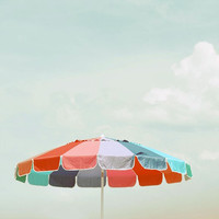 Beach Umbrella - 5x5 Original Signed Fine Art Photograph - summer rainbow colors - fun cottage print