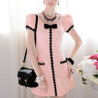 A pendulum pink inlaid black lace bow Slim bubble short-sleeved dress_Cute dresses_Dresses_Mili fashion Trade Co.Ltd