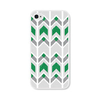 Emerald Green Ikat Chevron Tribal iPhone 5 Case - Plastic iPhone 5 Cover - Southwest Geometric iPhone 5 Skin - Grey White Cell Phone