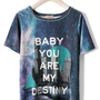 Galaxy City Print Velvet T-shirt