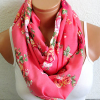 Infinity Scarf Floral Print Circle Loop Scarf by EmofoFashion
