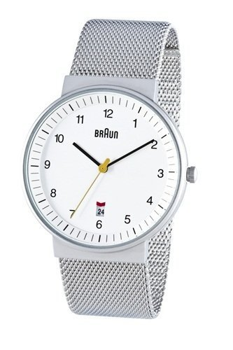 Braun Men's Analog Watch White Face, Steel Mesh Band 40mm