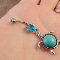 Turquoise Aqua Turtle Belly Button Ring