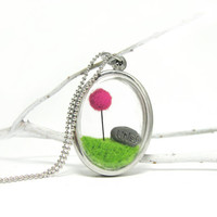 Terrarium Necklace, Pick Your Color Truffula Tree, Lorax Locket with Unless Rock, Gift for Movie Lovers
