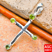 PERIDOT CROSS 925 STERLING SILVER PENDANT 1 3/4&quot; JEWELRY