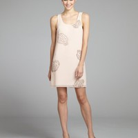 ERIN Erin Fetherstonpeach chiffon beaded rose shift dress | BLUEFLY up to 70 off designer brands