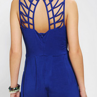 Sparkle & Fade Lattice-Back Knit Romper