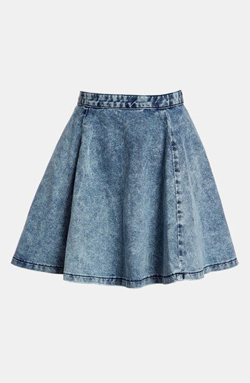 topshop moto acid wash denim skater skirt from nordstrom