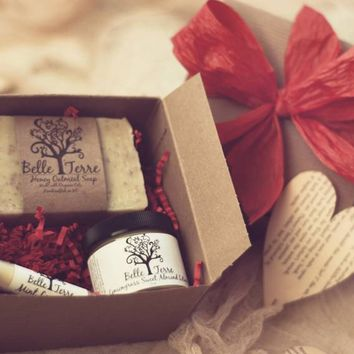 Red Gift Box - Soap, Lotion, And Lip Balm