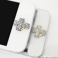 1PC Paved Bling Crystal Retro Cross Apple iPhone Home Button Sticker for iPhone 4,4s,4g, iPhone 5, iPad, Smart Phone Charm