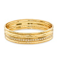 Cigar Band Bangle Gold / White Diamond - Bangles and Cuffs  | Melinda Maria Jewelry