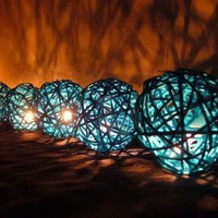 Blue Rattan Ball Patio Party Stri...