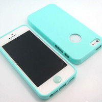 GNJ New Mint High Glossy back tpu silicone case cover+Home+film for iPhone 5