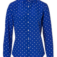 Ralph Lauren Black - Silk Caitlin Shirt in Royal Blue/Off White