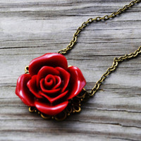 Blood Red Rose Necklace by cynicalredhead on Etsy