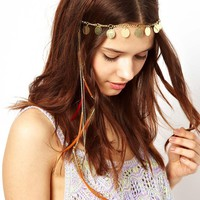 Coin And Feather Head Band