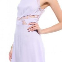 Lace Blocked Hi-Lo Dress