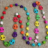 "Rainbow Skull Candy Confetti 50"" Long Howlite Turquoise Necklace"