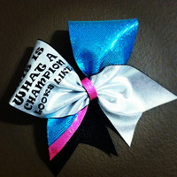 "Champions on Silver, Teal and Hot Pink on 3"" Black Grosgrain Cheer Bow"
