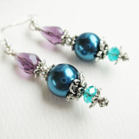 Purple Crystal &amp; Dark Blue Pearls Layered Victorian Style Earrings