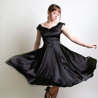 Vintage Evening Dress - Bombshell 1950s 1960s Little Black Dress Light Satin - Small Marilyn Monroe