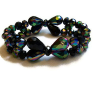 Black AB Crystal Bow Bracelet