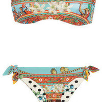 Dolce &amp; Gabbana|Reversible printed bandeau bikini|NET-A-PORTER.COM