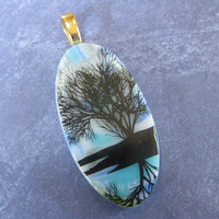 Tree of Life Pendant, Omega Slide, Fused Glass Jewelry, Tree Jewelry on Etsy - Oak River - 4107 -3