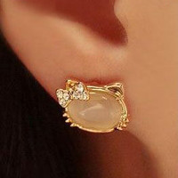 HELLO KITTY CRYSTAL STONE EARRING'S