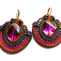 SONORAN CARNIVAL soutache earrings in purple, green and orange