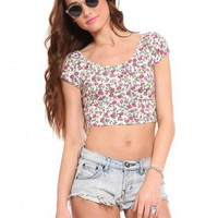 Floral Crop Tee - White - Tops - Clothes | GYPSY WARRIOR