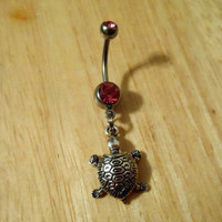 Belly button ring Silver turtle belly button ring by ChelseaJewels