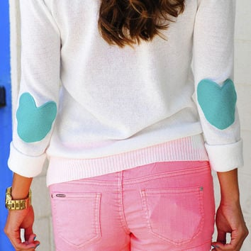 RESTOCK Bottom Of My Heart Sweater: Teal | Hope's