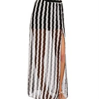SALE-Black/White Zig Zag Maxi Skirt