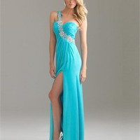 One Shoulder Sweep Train Beaded Chiffon Prom Dress PD0584