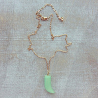 Pree Brulee - Mint Quartz Horn Pendant Necklace