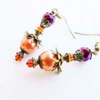 Purple Crystal & Orange Glass Pearl Layered Victorian Style Flower Earrings