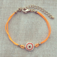 Pree Brulee - Orange Crystal Evil Eye Bracelet