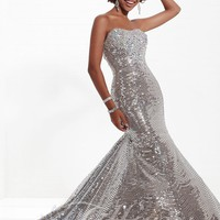 Tiffany Designs 16738 Silver Mermaid Dress